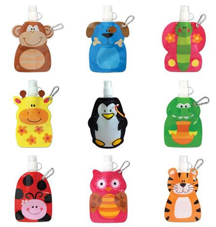500pcs wholesale trendy animal shape foldable collapsible 300ml water bottle FDA APPROVED DHL Fedex Free shipping(China (Mainland))
