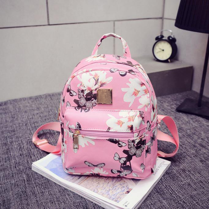 women casual shopping bags new fashion ladies travel Backpack Fashion Causal Floral Printing Leather Bag(China (Mainland))