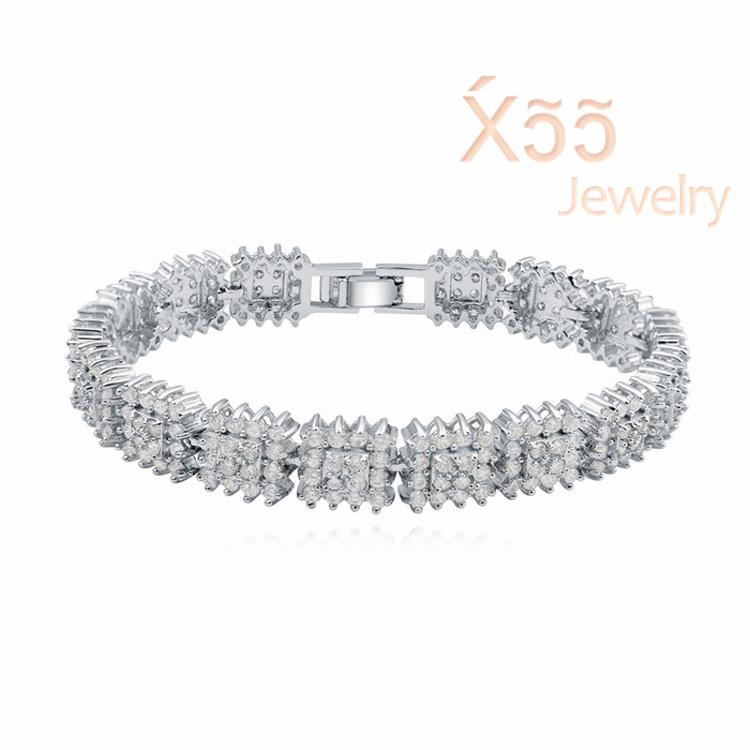 Woman luxury zircon crystal bracelet gold chain jewelry gift box Cards Silver bracelet Bangles party Wedding B110786(China (Mainland))