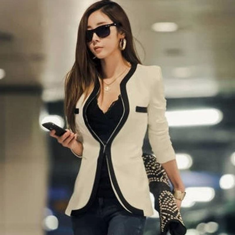 New Fashion Autumn Casual Winter Jacket Women Slim Wave V-Neck Single Button Outerwear Suit Women Coat casacos zx*USE1445#s8(China (Mainland))