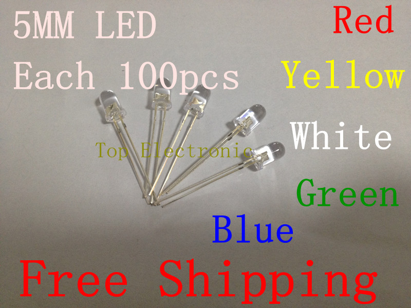 Free Shipping 500pcs/lot 5MM LED KIT red/yellow/white/green/blue led diode Water Clear LED light emitting diode in stock(China (Mainland))