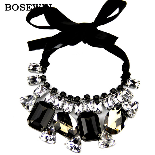 Hot Sell Classic Collar Statement Necklace For Women Fashion Big Black Mix Clear Acrylic Gem and Ribbon Choker Jewelry C68082