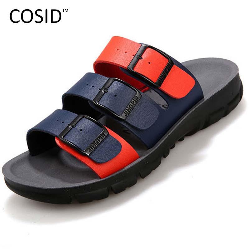 Fashion Mens Sandals PU Leather Flip Flops Summer Men Sandals Breathble Beach Slippers Casual Mens Flip Flop Sandals BRM-088