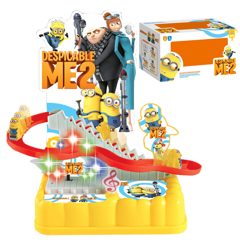 Funny Despicable Me Stair Toy Running Minions Climbing Game Music Electric Slide Train Track Toys Baby Educational Toy Kids Gift(China (Mainland))