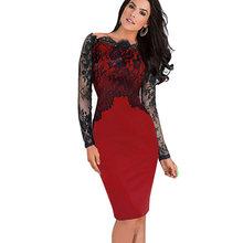 נחמד לנצח Off-כתף מדהים בציר שמלה סקסי סלאש צוואר תחרה למעלה ארוך שרוול רוכסן מועדון ללבוש מזדמן עיפרון שמלת 803(China)