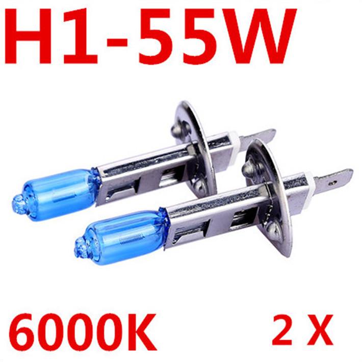 Free Shipping Lowest price 2X Car H1 Headlight Bulb Lamp 12V 55W Super White 6000K Halogen Xenon Quartz Cars Car Styling Auto(China (Mainland))