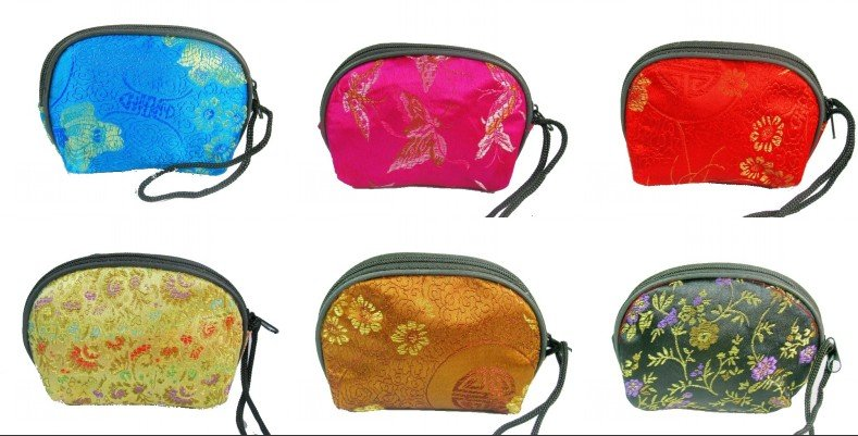 Free shipping 20 pcs New Silk Coin Purse Case Makeup Bag Multicolor Wallet Zipper Pouch(China (Mainland))