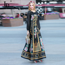 Buy High 2017 Spring Maxi Dress Women's Long Sleeve Flower Floral Printed Vintage Long Dress for $46.74 in AliExpress store