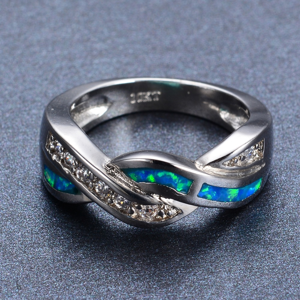 Unique Design Blue Fire Opal Ring 10kt White Gold Filled Promise Engagement  Rings For Men And Women Top Quality Fashion Jewelry