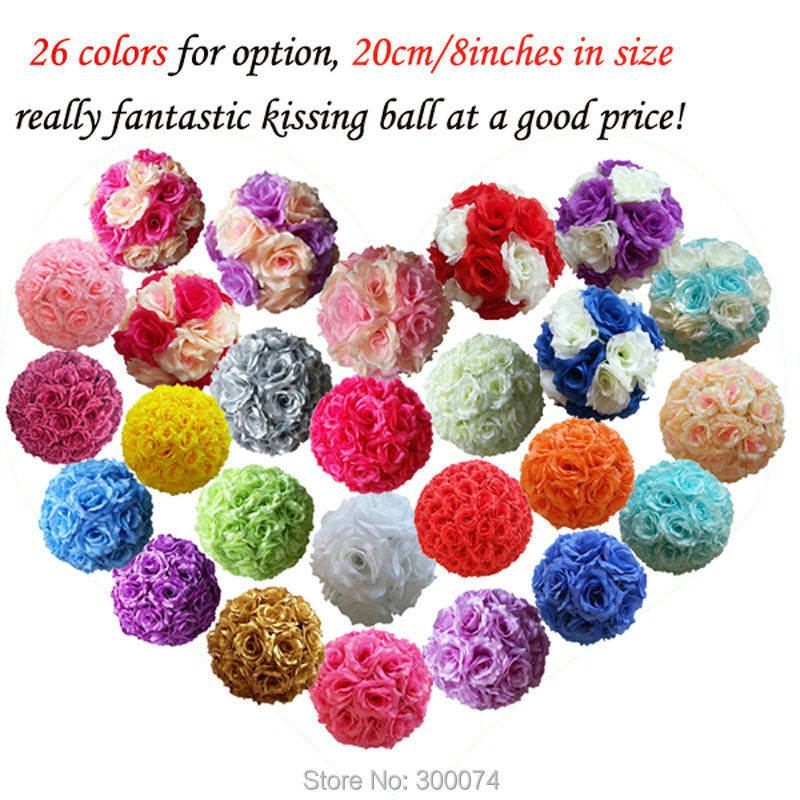"""Fast EMS 7pcs 8"""" Wedding Arch Flowers Ball Table Centerpiece Decoration Artificial Silk Rose Pomander Hanging Kissing Ball Flore(China (Mainland))"""