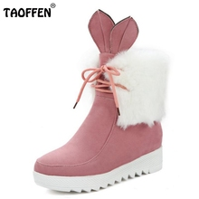 Buy Women Cute Lace Boot Fashion Snow Botas Mujer High Increasing Shoes Woman Winter Warm Thicked Fur Ankle Boots Size 34-43 for $23.86 in AliExpress store