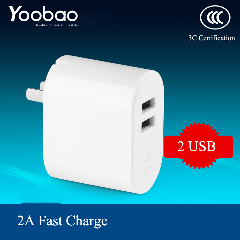Yoobao YB702 US EU Plug 5V 2.1A Travel Wall Phone Charger Adapter 2 Port USB Phone Charger for iPhone for Samsung Tablet(China (Mainland))