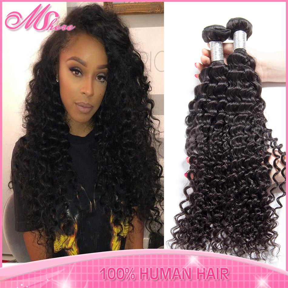 Unprocessed 6A indian virgin hair deep wave human hair bundles VIP beauty kinky curly Indian remy hair weft naural color 1b(China (Mainland))