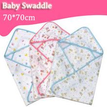 Soft Cozy Baby 70*70 Swaddle Wrap Envelope For Newborn Baby Blanket Swaddle Carters Cotton Gauze Sleeping Bag Infant Bedding(China (Mainland))