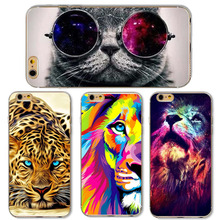 Cute Cat with Glasses Tiger Skull Pattern Case Cover For iphone 5 5s SE 6 6S Transparent Soft Silicone Cell Phone Cases(China (Mainland))