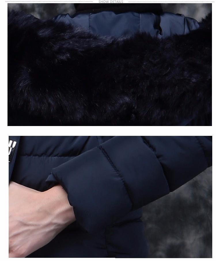 Скидки на Новый 2016 Зима Теплая Вниз Хлопка Куртка Женская Мода Искусственного меховой Воротник Толстый Тонкий С Капюшоном Плюс Размер Длинный Пуховик пальто