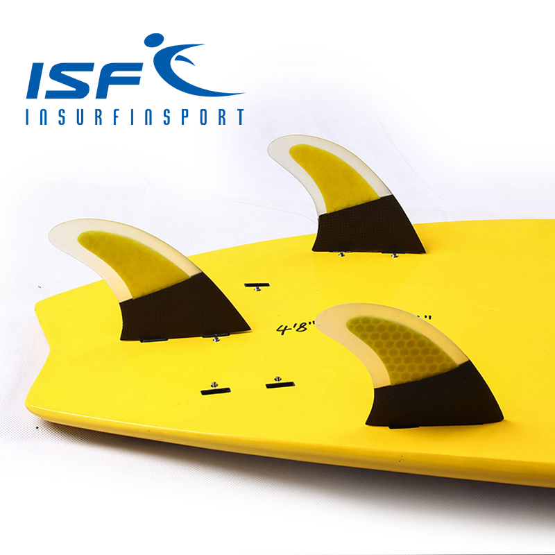 Free Shipping!!! Yellow Honeycomb Carbon Fiber FCS Surfboard Fins(China (Mainland))