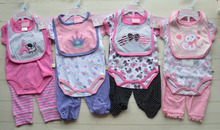 Retail 3 pieces baby suits baby romper infant clothing set 1 pieces rompers+1pc pants+1pc bib size 0-3M 3-6M 6-9M Free shipping