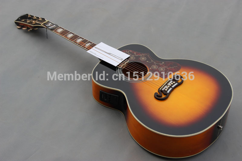 Free shipping 6 string handmade OEM sunburst spruce 43 inch J200 Electric Acoustic guitar, free gift<br><br>Aliexpress