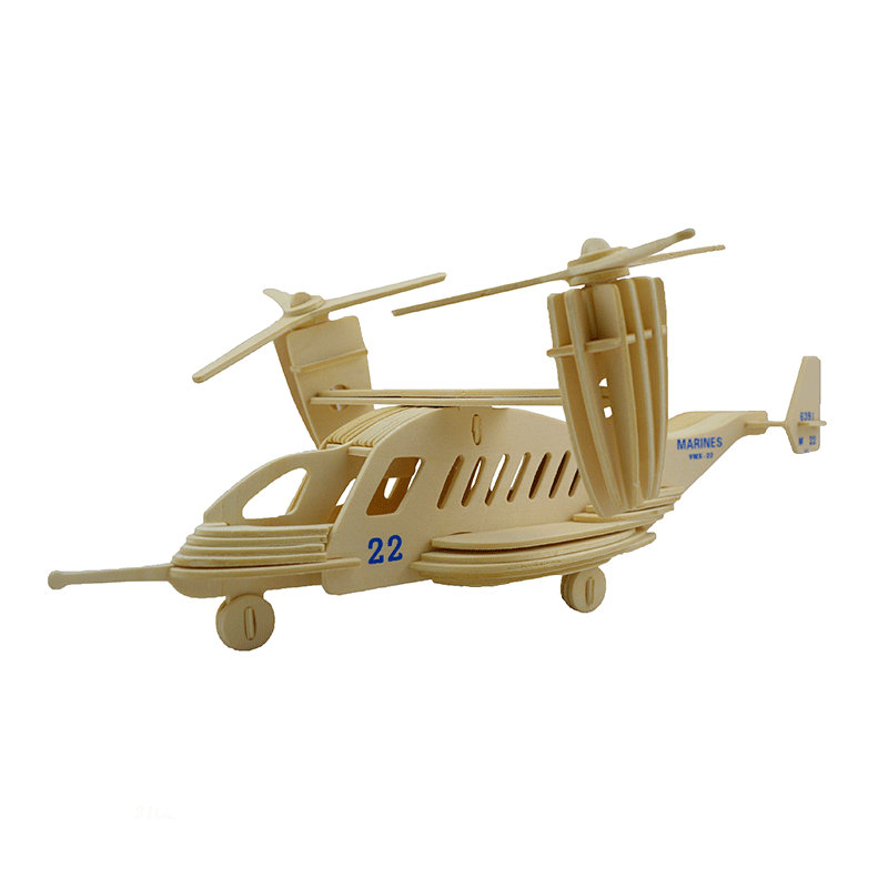 3D DIY MV-22 Wooden Educational Emulational Transport Plane Handmade Children's Toys Unassembled Kit Diecasts Toy Vehicles GH017(China (Mainland))