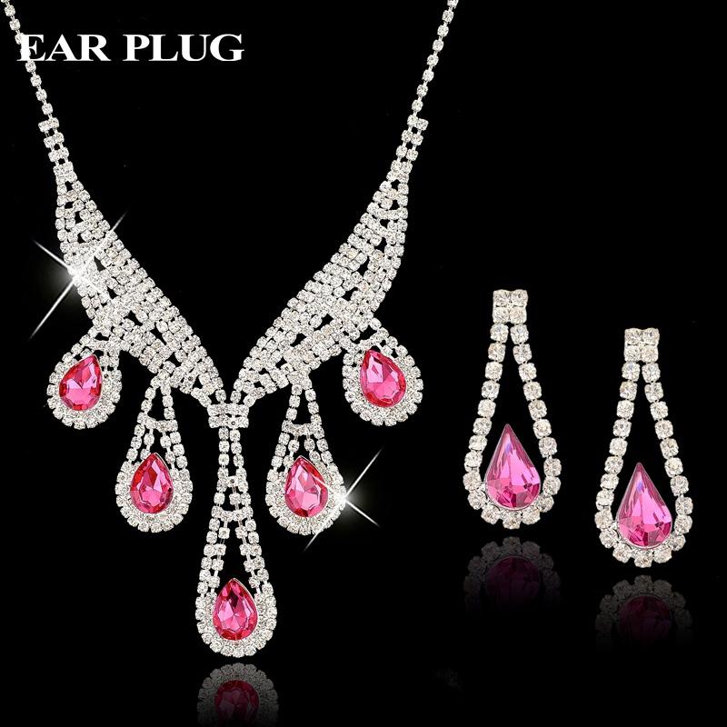 Luxury bridal wedding 925 sterling silver jewelry sets for for Pink wedding jewelry sets