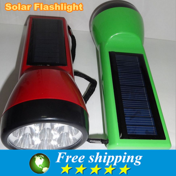 High Quality 7 LED Super Solar Power Portable Flashlight Torch Lamp Hiking Camping ,125 * 40 mm,free shipping.(China (Mainland))