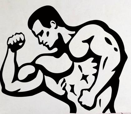 Фитнес-мышечных человек стикер стены человек фитнес-спортивные тренажерный зал пвх стены настенной росписи фитнес центр Gym на стены спальня украшения