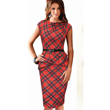 Dropshipping 2015 New Women Vintage Elegant Plaid Belted Tartan Peplum Ruched Tunic Work Party Cap Sleeve Bodycon Sheath Dress