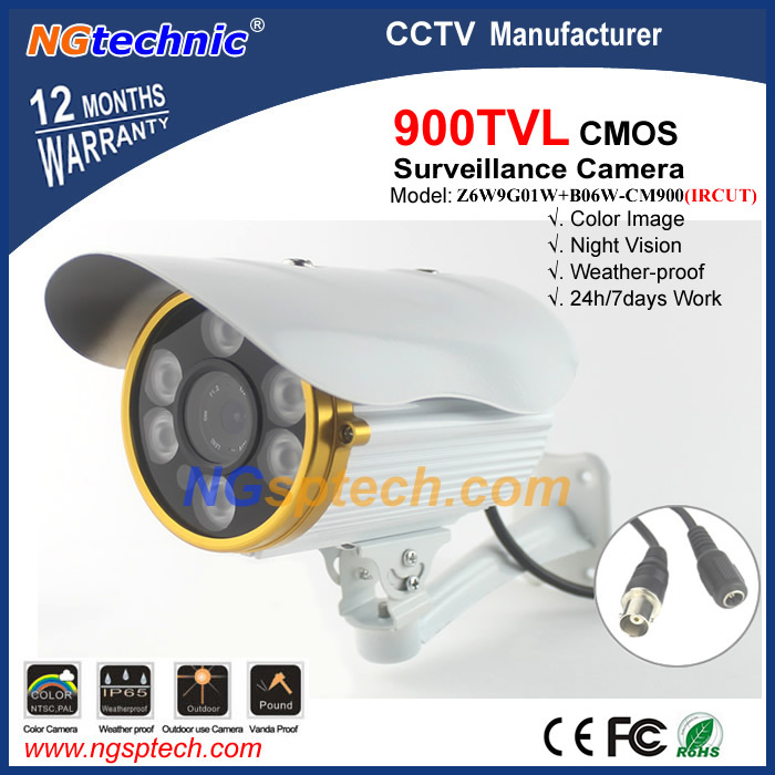 CCTV system 900TVL 1/4''CMOS sensor outdoor waterproof with 6pcs Array LED ircut color image for night vision security camera