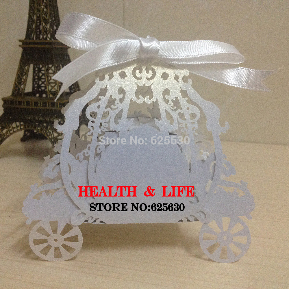2017 New 50pcs Laser cut White,Pink pumpkin carriage Wedding Candy favor box,pearlescent paper box,baby shower birthday gift(China (Mainland))