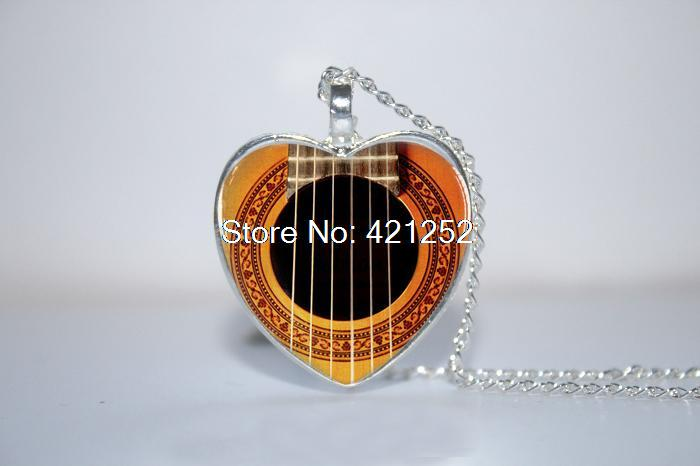10pcs/lot Guitar Sound Hole Pendant, Music Instrument Jewelry, Music heart Necklace Glass Photo Cabochon Necklace(China (Mainland))