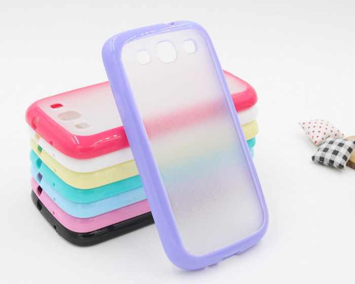 Simple and transparent with various candy colors optional Soft TPU and PC cell phone covers for Samsung S3 I9300 case PC0022(China (Mainland))