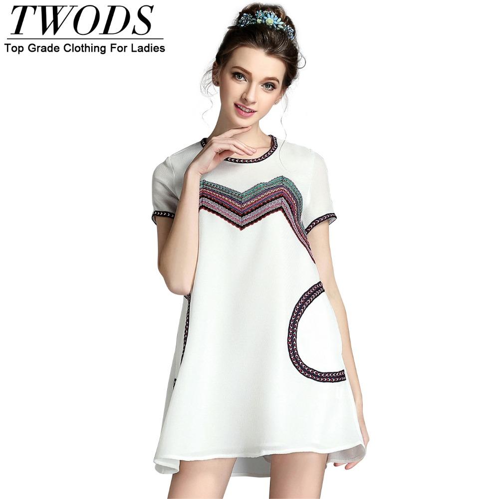 Aliexpress.com : Buy Twods S 5XL Ribbon Patch Ethnic Dress ...