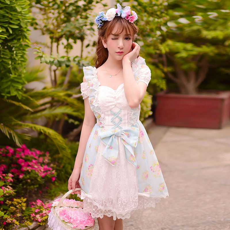 Princess sweet lolita dress Candy rain Japanese style summer Dew shoulder sweet bow lace floral chiffon dress WL106Одежда и ак�е��уары<br><br><br>Aliexpress
