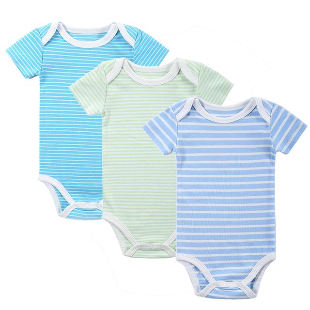 New 3PCS/LOT Baby Boy Rompers Одежда для новорожденных Set Лето Хлопок Baby Girl Boy с коротким рукавом автомобилей Печатные комбинезон для новорожденных Одежда для новорожденных