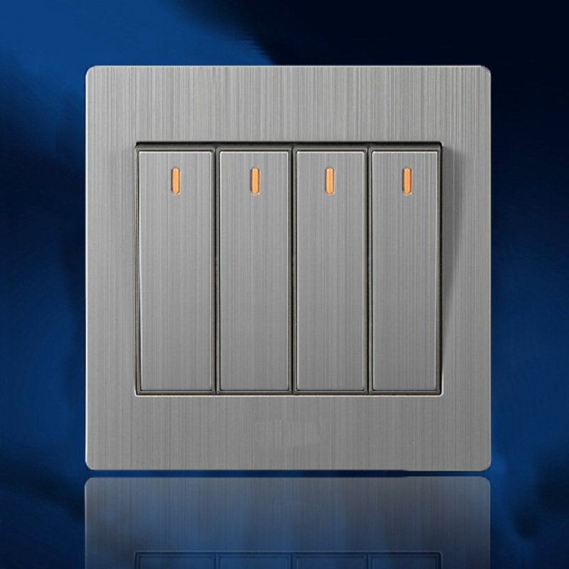 wholesale big button 4 gang electric power switch electric double control wall switch;good quality silver color LED switch light(China (Mainland))