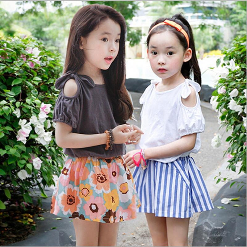 Summer Style Kids Clothes Girls Fashion Korean Children Clothing Sets Short Sleeve Mini Skirt