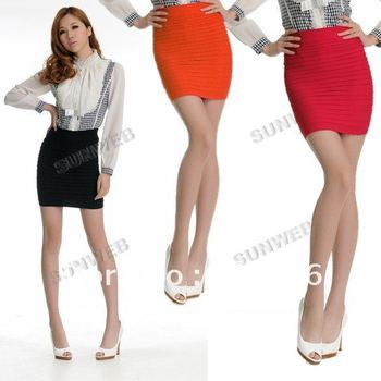 Korea Women Slim Fit Bandage High or Low Waisted Stretch candy color Short Pleated Mini Skirt 7843