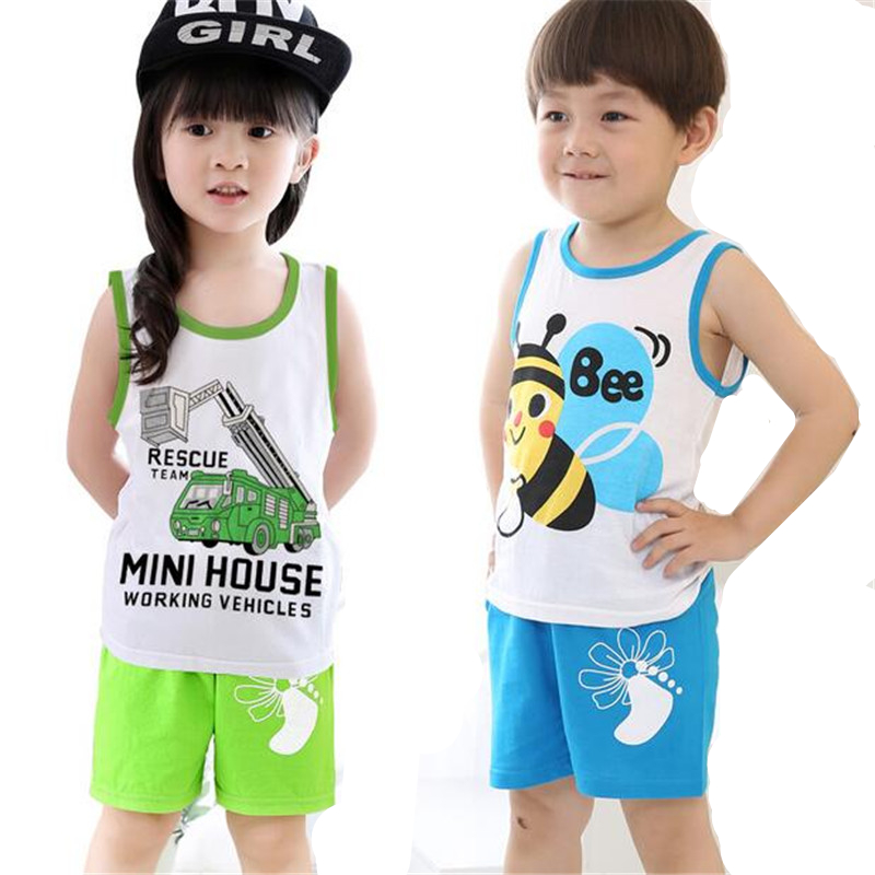 2016 Breathable Baby Clothing set Cotton Summer children's clothes boys sport 2pcs T-shirt + Shorts Boys and Girls kids suit(China (Mainland))