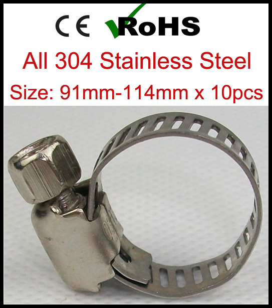 91mm-114mm x 10pcs American Type Stainless Steel Adjustable Water Hose Clamps Quick Pipe Clips SS304 Hot Sale(China (Mainland))