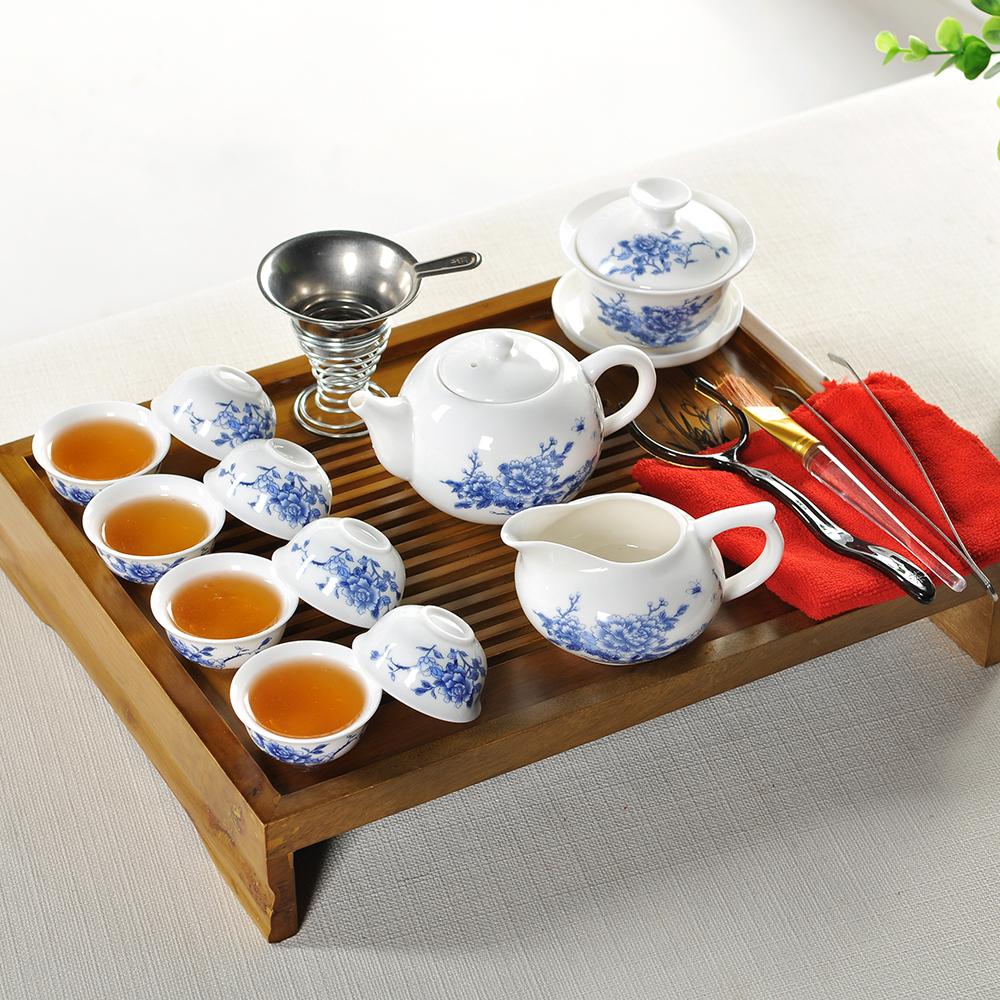 NEW 2013 tea sets Free shipping Chinese kung fu tea set teapot set ceramic plain white mugs with decals customizable logo(China (Mainland))