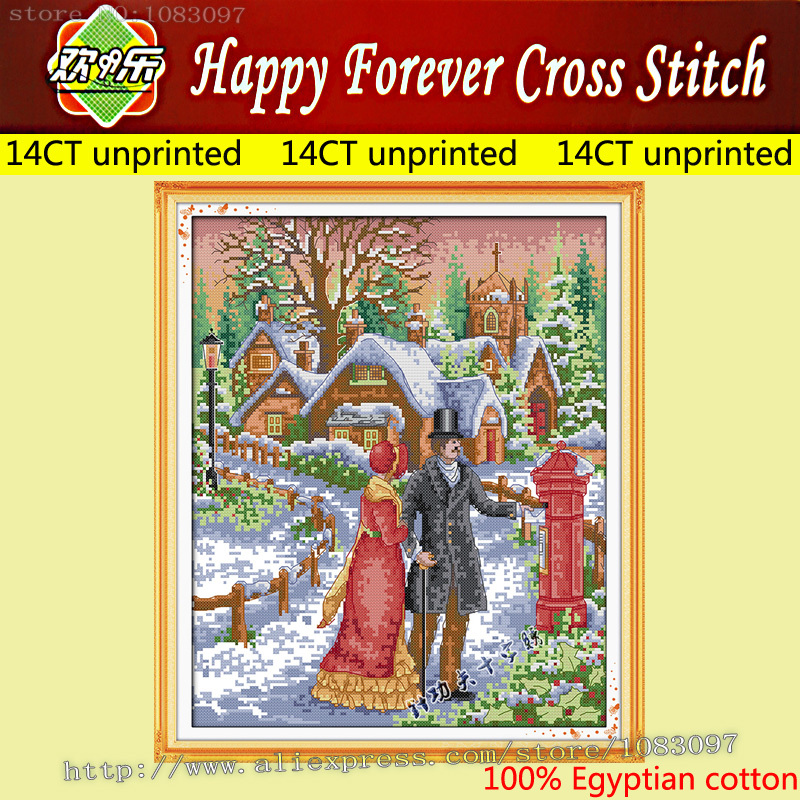 Happy Forever Cross Stitch 14CT DIY F333 diy beads painting flower cross stitch wall decoration