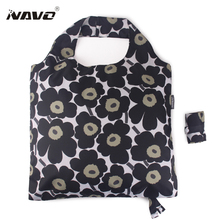 NAVO Brand Pongee fabric shoping bag foldable reusable grocery bags polyester shopping bags fashion designer casual tote bag(China (Mainland))