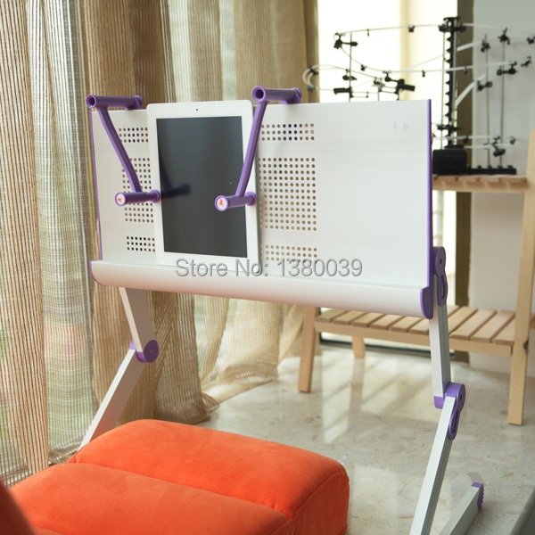 Adjusting foldable portable laptop bed table white color with purple joint plastic mouse pad and book clamping(China (Mainland))