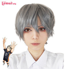 Haikyuu!! Anime Karasuno High School Volleyball Club Koushi Sugawara Short Grey Cosplay Wig(China (Mainland))