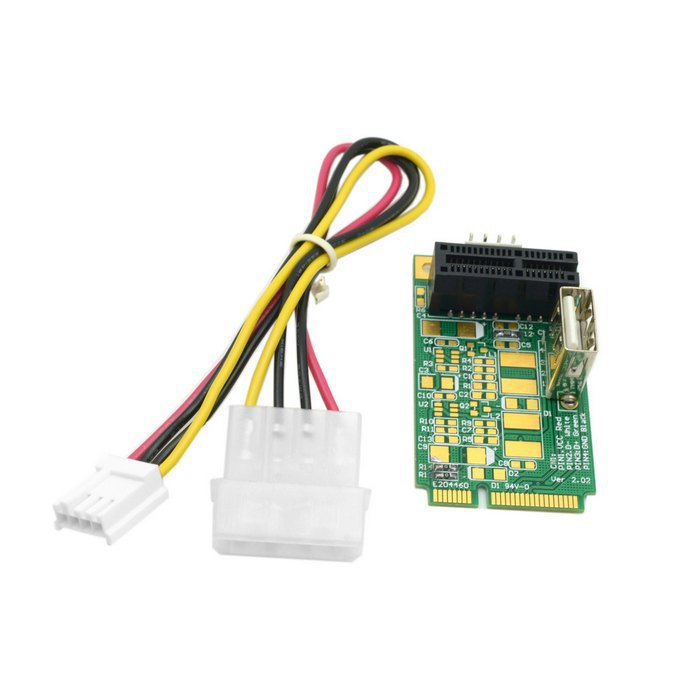 Mini PCI-E to PCI-E Express 1X Extension Cord Adapter Card with USB Riser Card(China (Mainland))