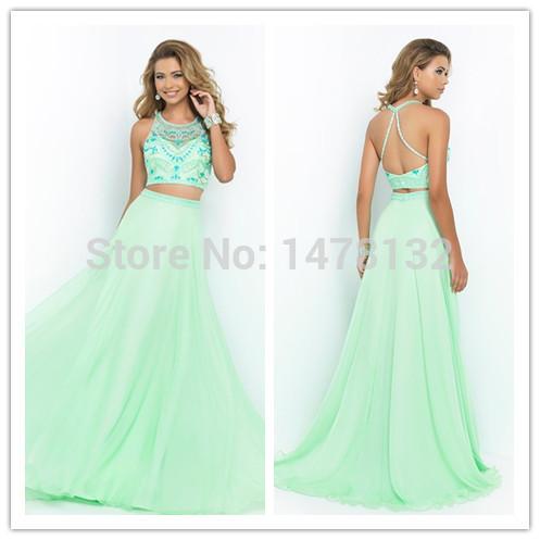 Sexy Long Prom Dresses 2015 Mint Green Two Piece Waist Slit Evening Gowns Beaded Open Back Dress vestidos de festa longo - FAERIE store
