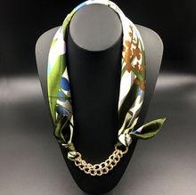 Pattern Printed Silk Shawl Acrylic Gold Plated Pendant Women Scarf Accessory Simple Style Elegant Women 2015 Autumn New Fashion(China (Mainland))