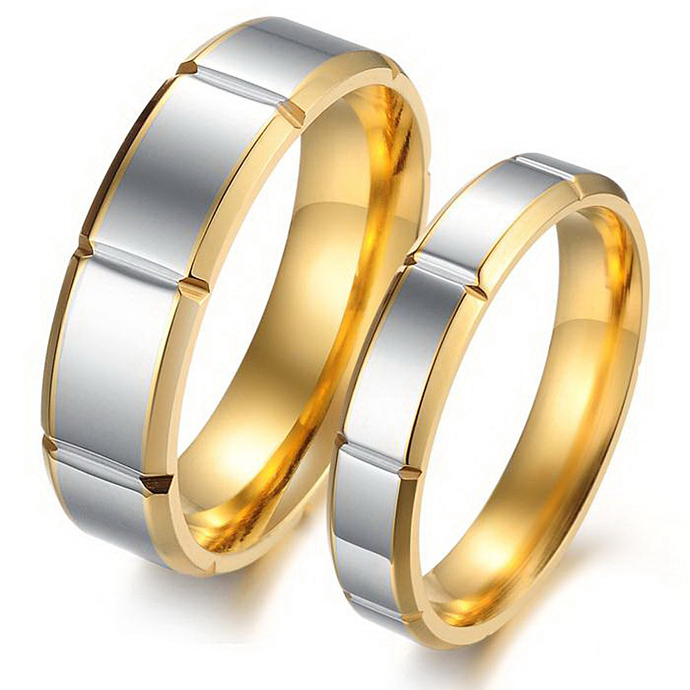 Top Quality Men and Women Wedding Rings 18K Gold Plated Rings Stainless Steel