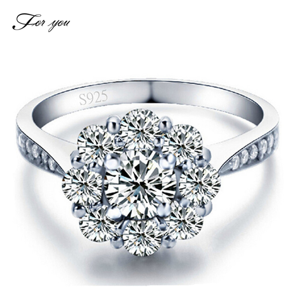 For you trendy fashion sterling silver rings woman wedding engagement jewels big round CZ diamond top gifts couple bijoux FY047(China (Mainland))